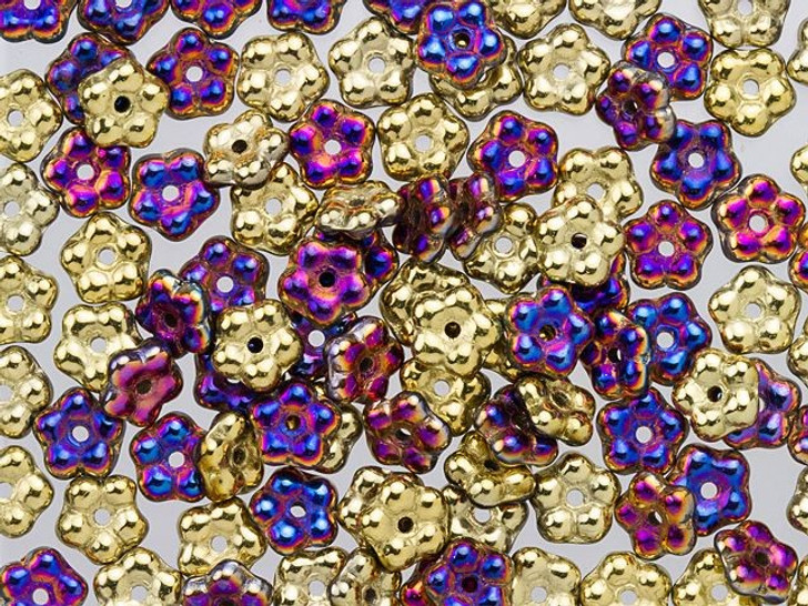 Czech Glass 5mm California Violet Forget-Me-Not Flower Bead (100pc Pack)