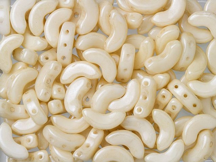 Czech Glass 5x10mm Arcos Par Puca Opaque Beige Luster 3-Hole Crescent Bead (10 gram pack)