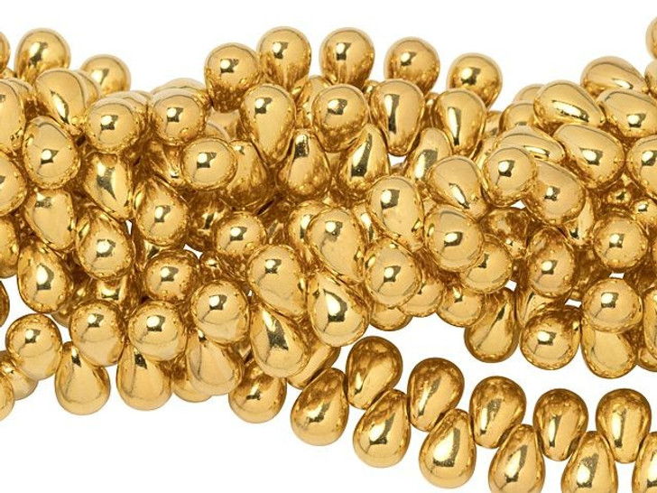 Czech Glass 6 x 4mm 24K Gold-Plated Tear Drops Bead Strand by Starman