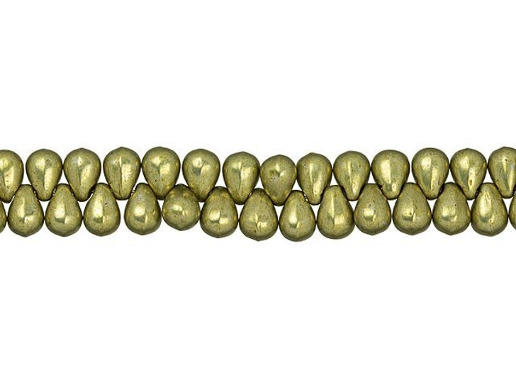 Czech Glass 6 x 4mm ColorTrends Saturated Metallic Limelight Tear Drop Bead (100pc Strand) by Starman