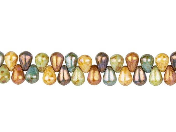 Czech Glass 6 x 4mm Stone Rainbow Mix Opaque with Luster Finish Pressed Drop Bead Strand by Raven's Journey