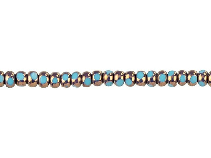 Czech Glass 6/0 (4 x 3mm) Blue Turquoise with Bronze Finish Faceted Seed Bead Strand by Raven's Journey