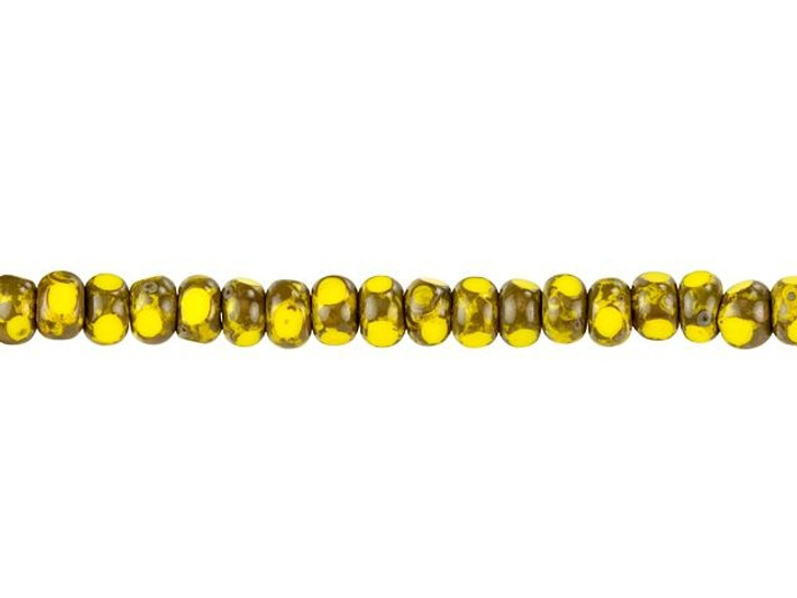 Czech Glass 6/0 (4 x 3mm) Canary Yellow with Picasso Finish Faceted Seed Bead Strand by Raven's Journey
