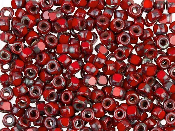 Czech Glass 6/0 3-Cut Matubo Beads Opaque Coral Red with Dark Travertine approx 8g Tube