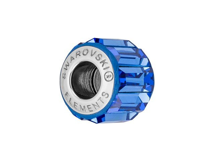 Swarovski 180301 10.5mm BeCharmed Pave Bead with Sapphire Baguette Fancy Stones on Blue Base