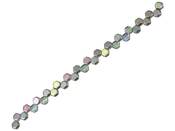Czech Glass 6mm 2-Hole Graphite AB Honeycomb Bead Strand