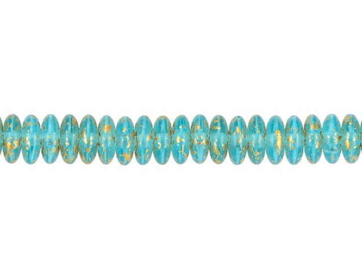 Czech Glass 6mm Aqua Blue Matte with Speckled Gold Finish Disc Spacer Bead Strand by Raven's Journey