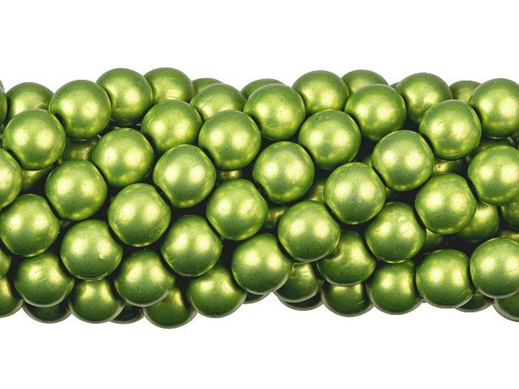 Czech Glass 6mm ColorTrends Saturated Metallic Lime Punch Round Bead Strand by Starman
