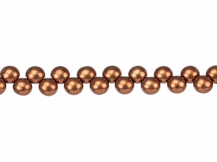 Czech Glass 6mm ColorTrends Saturated Metallic Potter's Clay Top-Drilled Round Bead Strand by Starman