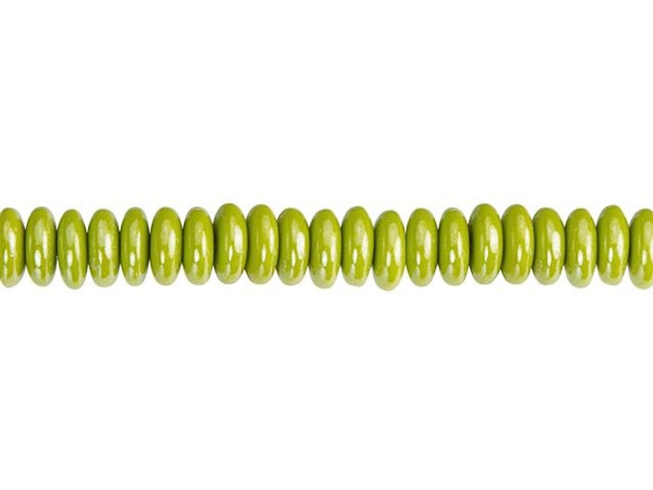 Czech Glass 6mm Gaspeite Green with Luster Finish Disc Spacer Bead Strand by Raven's Journey