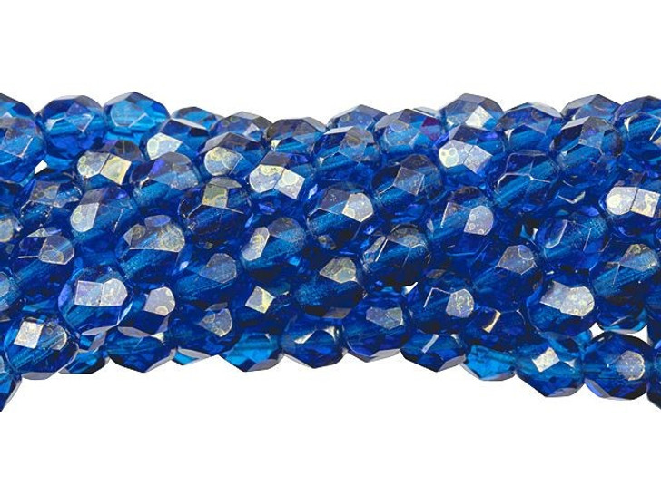 Czech Glass 6mm Gold Marbled Luster - Capri Blue Fire-Polished Bead Strand by Starman