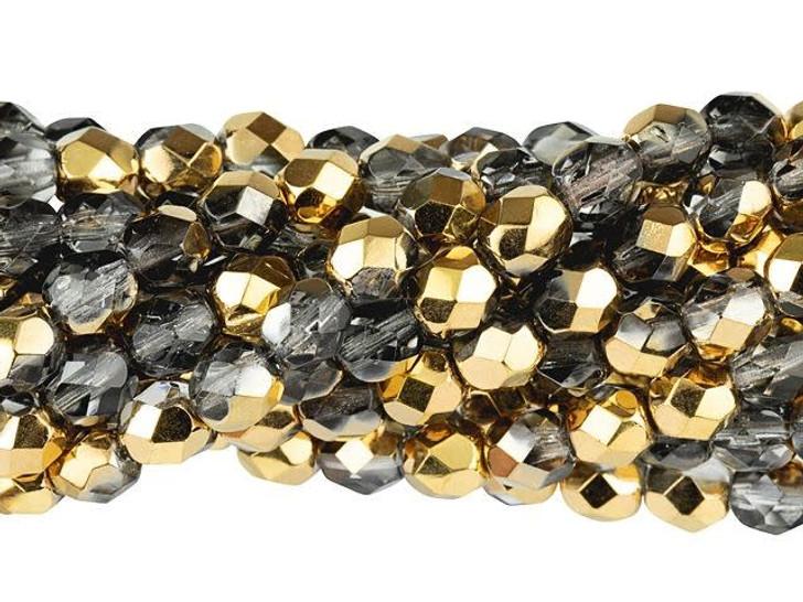 Czech Glass 6mm Half Gold Fire-Polish Bead Strand by Starman