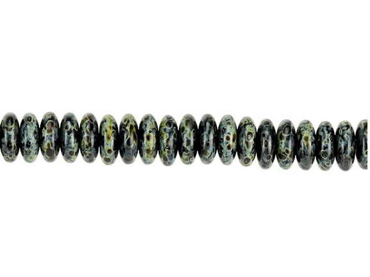 Czech Glass 6mm Jet Black Opaque with Picasso Finish Disc Spacer Bead Strand by Raven's Journey