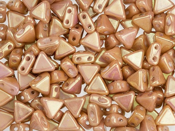 Czech Glass 6mm Kheops Par Puca Opaque Rose Luster Two-Hole Triangle Bead (10 gram pack)