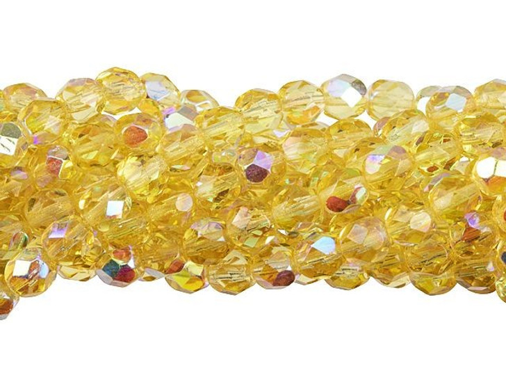 Czech Glass 6mm Lt Topaz AB Fire-Polished Bead Strand by Starman
