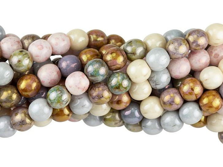 50 Opaque Luster Mix Czech Glass Faceted Round Beads 6 mm