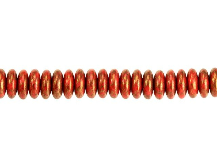 Czech Glass 6mm Orange Opaque with Bronze Marble Finish Disc Spacer Bead Strand by Raven's Journey
