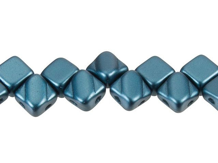 Czech Glass 6mm Pastel Petrol 2-Hole Silky Diamond Bead Strand