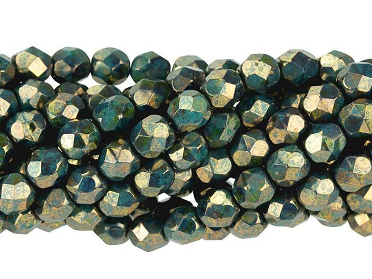 Czech Glass 6mm Persian Turquoise Bronze Picasso Fire-Polish Bead Strand by Starman