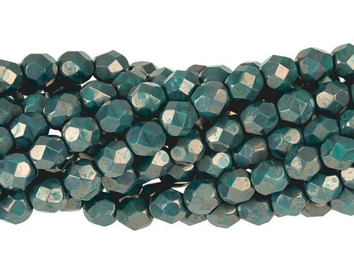 Czech Glass 6mm Persian Turquoise Moon Dust Fire-Polish Bead Strand by Starman