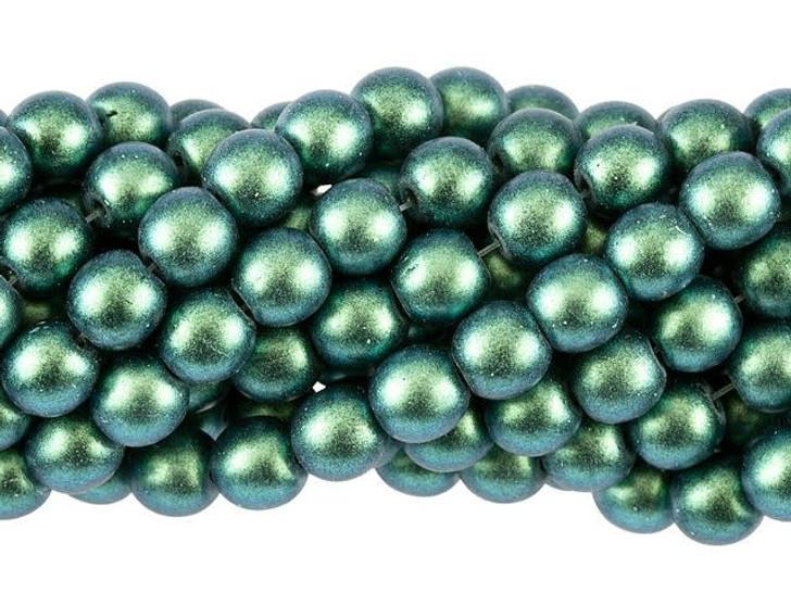 Czech Glass 6mm Polychrome Aqua Teal Round Bead Strand by Starman