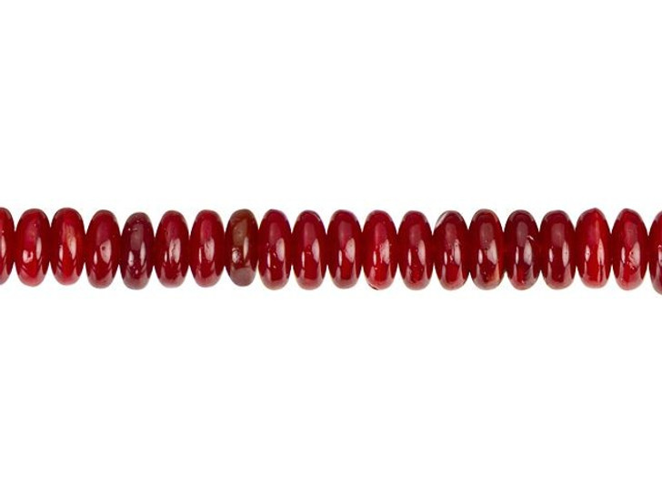 Czech Glass 6mm Red Opaline Disc Spacer Bead Strand by Raven's Journey