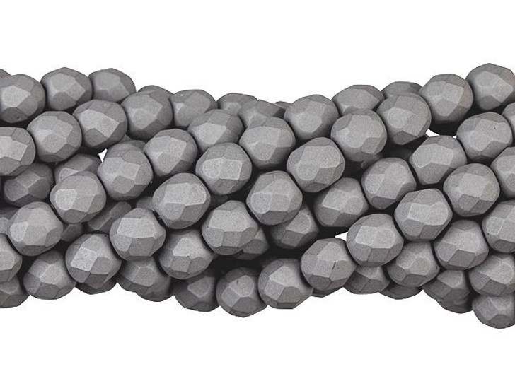 Czech Glass 6mm Saturated Gray Fire-Polished Bead Strand by Starman