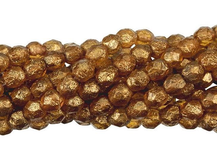 Czech Glass 6mm Stone Patina - Topaz Fire-Polished Bead Strand by Starman