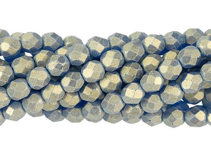 Czech Glass 6mm Sueded Gold Capri Blue Fire-Polish Bead Strand by Starman