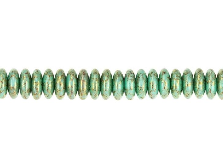 Czech Glass 6mm Turquoise Opaque with Purple/Gold Marble Finish Disc Spacer Bead Strand by Raven's Journey