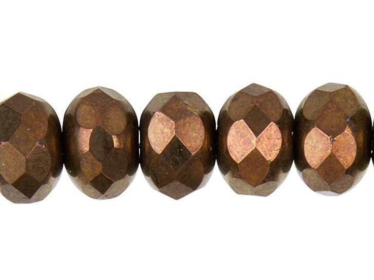 Czech Glass 6x9mm Bronze Finish Faceted Roundel Bead Strand by Raven's Journey