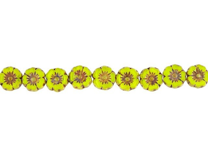 Czech Glass 7mm Bright Yellow Opaline with Picasso Finish Hibiscus Flower Bead Strand by Raven's Journey