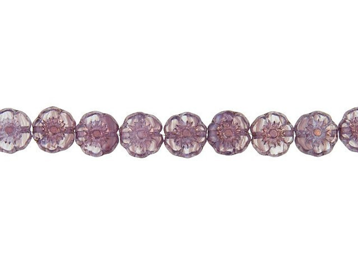 Czech Glass 7mm Hibiscus Flower Amethyst Purple and Crystal Stripes with Bronze Finish Bead Strand by Raven's Journey