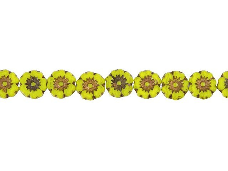 Czech Glass 7mm Hibiscus Flower Opaline Canary Yellow with Dark Bronze Wash Bead Strand by Raven's Journey