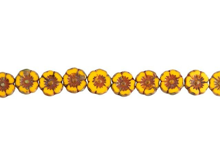 Czech Glass 7mm Mustard Yellow Opaque with Picasso Finish Hibiscus Flower Bead Strand by Raven's Journey