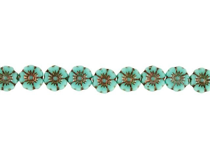 Czech Glass 7mm Turquoise Opaque with Dark Bronze Wash Hibiscus Flower Bead Strand by Raven's Journey