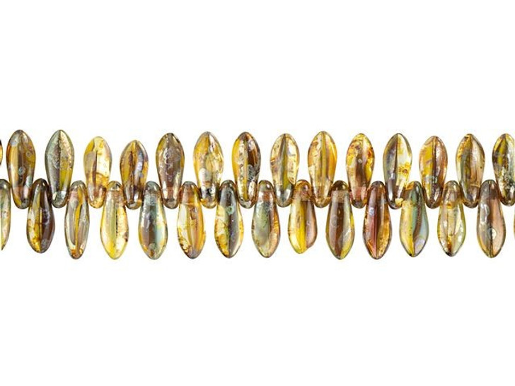 Czech Glass 8 x 3mm Amber, Yellow, and Maroon Transparent Mix with Blue Picasso Finish Small Dagger Bead Strand by Raven's Journey
