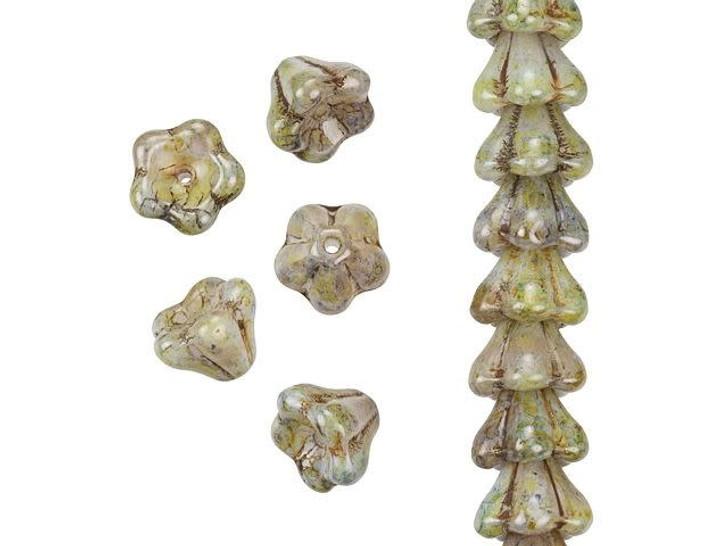 Czech Glass 8 x 6mm Opaque Green Luster Bell Flower Bead Strand by Starman