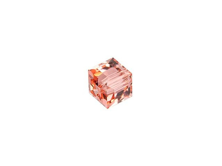 Swarovski 5601 4mm Faceted Cube Rose Peach