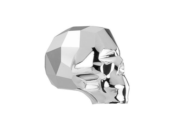 Swarovski 5750 Skull Bead 13mm Crystal Light Chrome 2x