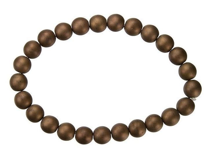 Czech Glass 8mm Matte Bronze Round Beads by Raven's Journey