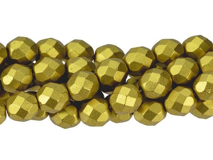 Czech Glass 8mm Matte Metallic Aztec Gold Fire-Polished Bead Strand by Starman