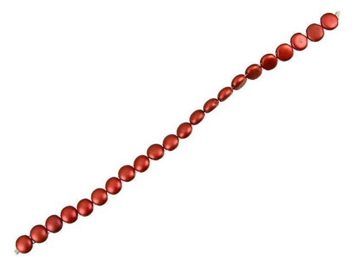 Czech Glass 8mm Opaque Lava Red Bronze 2-Hole Candy Bead Strand