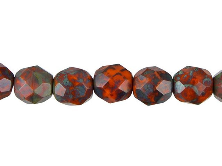 Czech Glass 8mm Opaque Orange with Green Picasso Faceted Round Bead Strand by Raven's Journey