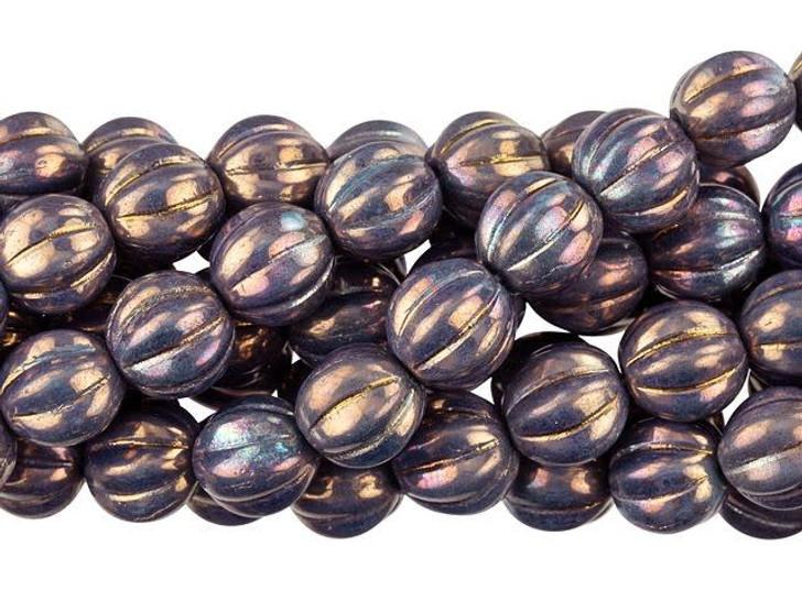 Czech Glass 8mm Oxidized Bronze Melon Bead Strand by Starman