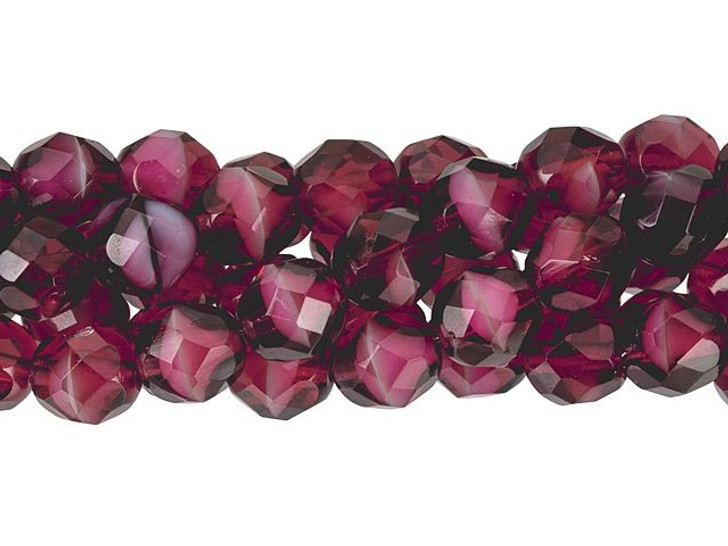 Czech Glass 8mm Pearl/Fuchsia Fire-Polish Bead Strand by Starman
