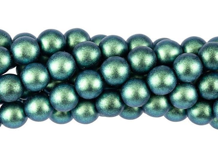 Czech Glass 8mm Polychrome Aqua Teal Round Bead Strand by Starman