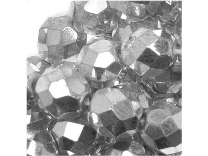 Czech Glass 8mm Silver Fire-Polish Bead Strand by Starman