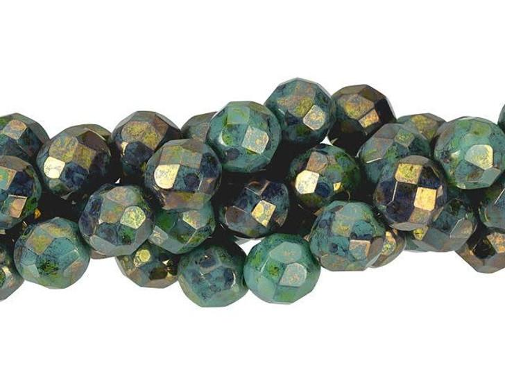 6 Vintage Bohemian Glass 8mm Fire Polished Beads