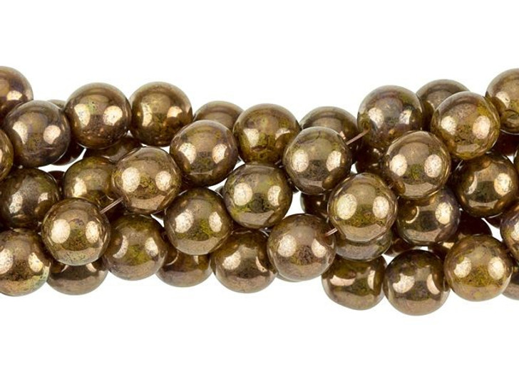 Czech Glass 8mm Yellow Coral Bronze Picasso Round Bead Strand by Starman